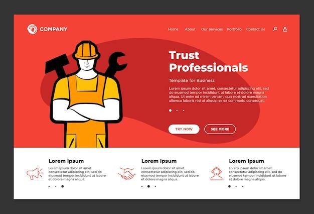 I professionisti della fiducia supportano il modello di progettazione della pagina di destinazione del sito web del servizio di riparazione del costruttore uomo marito