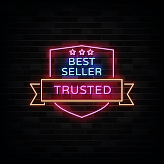 Di fiducia. insegna al neon best seller.