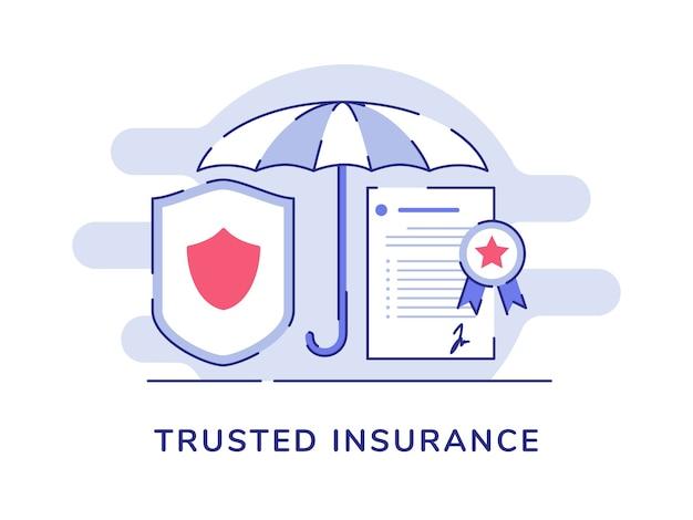Assicurazione fidata concetto ombrello scudo certificato politica Vettore Premium