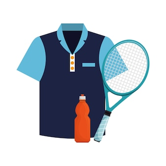 Tshirt bottiglia di acqua e racchetta da tennis icone