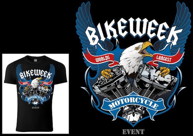Tshirt design per motociclisti con aquila e motore con ali decorative e striscioni e testi