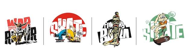Tshirt design funky baba angry warrior easter bunny con skateboard