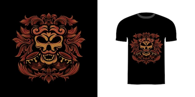 Tshirt design illustrazione teschio dell'esercito con ornamento incisione