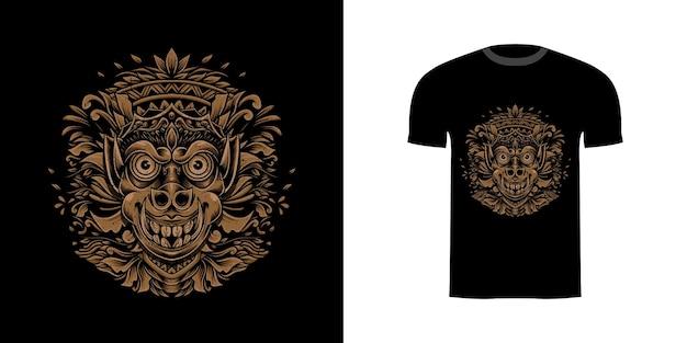 Tshirt design illustrazione demone con ornamento incisione
