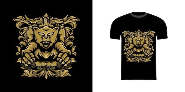 Tshirt design illustrazione grizzly con ornamento incisione