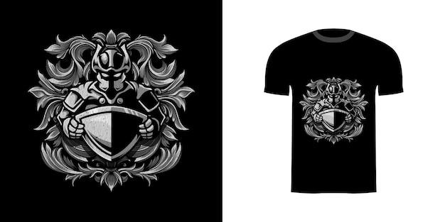 Tshirt design illustrazione cavaliere e scudo con ornamento inciso