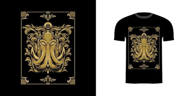 Tshirt design illustrazione kraken con ornamento incisione