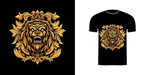 Tshirt design illustrazione leone con ornamento incisione