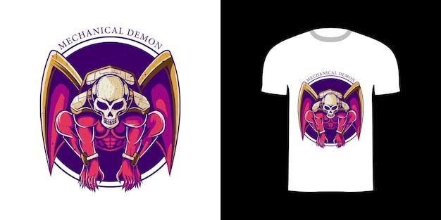 Tshirt design illustrazione demone meccanico