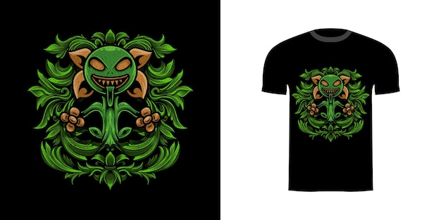 Tshirt design illustrazione pianta mostro con ornamento incisione