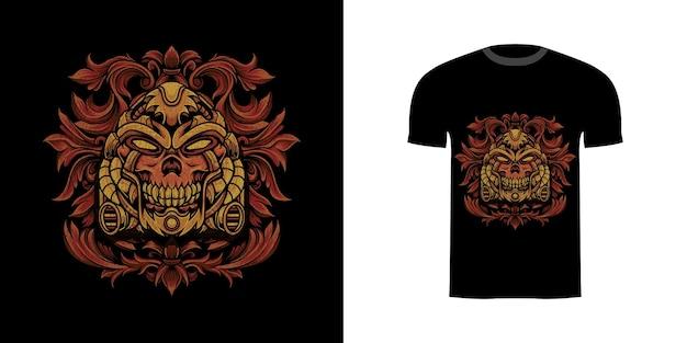 Tshirt design illustrazione vecchio cyborg con ornamento incisione