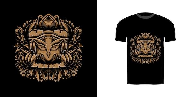 Tshirt design illustrazione gufo con ornamento incisione