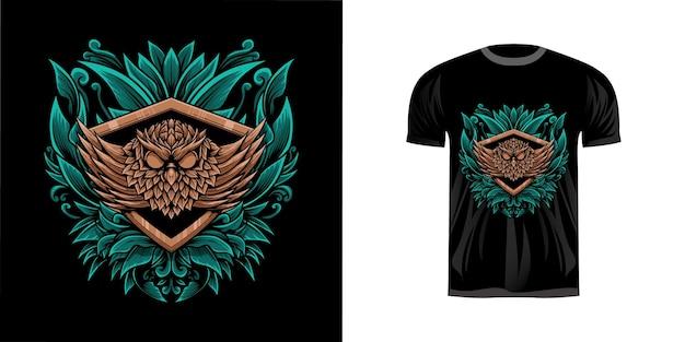 Tshirt design illustrazione gufo
