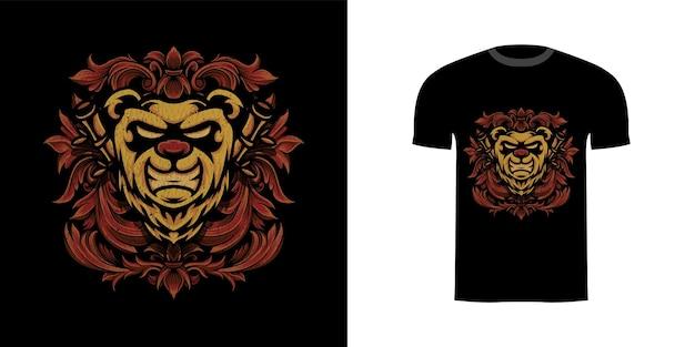 Tshirt design illustrazione panda con ornamento incisione