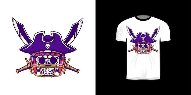 Tshirt design illustrazione pirata re football americano con stile retrò