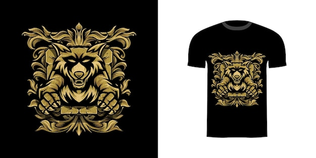 Tshirt design illustrazione procione con ornamento incisione