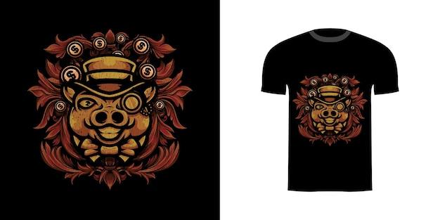 Tshirt design illustrazione maiale ricco con ornamento incisione