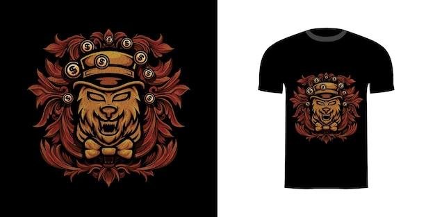 Tshirt design illustrazione lupo ricco con ornamento incisione