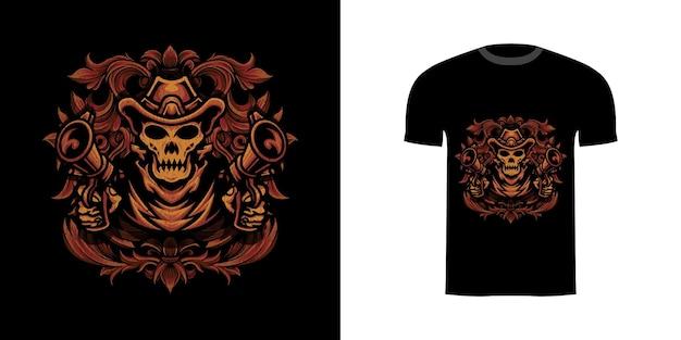 Tshirt design illustrazione teschio cowboy con ornamento incisione
