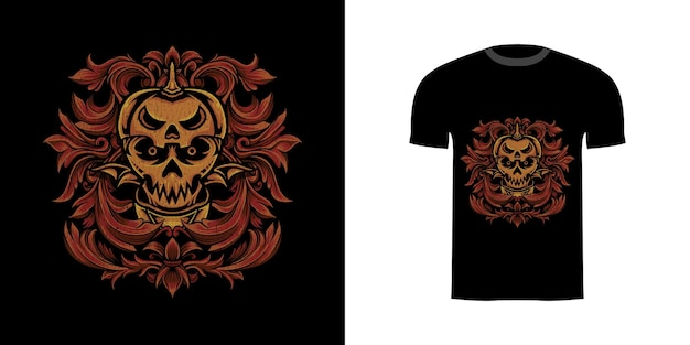 Tshirt design illustrazione teschio zucca con ornamento incisione