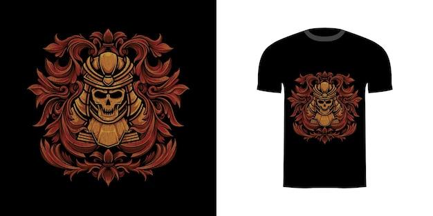 Tshirt design illustrazione teschio samurai con ornamento incisione