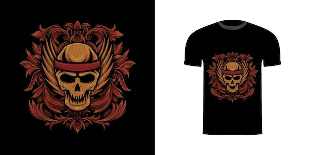 Tshirt design illustrazione ali di teschio con ornamento inciso