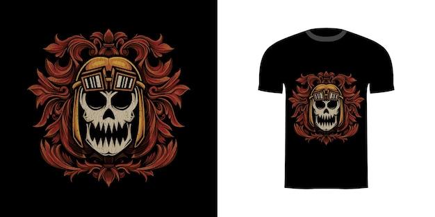 Tshirt design illustrazione teschio con ornamento incisione