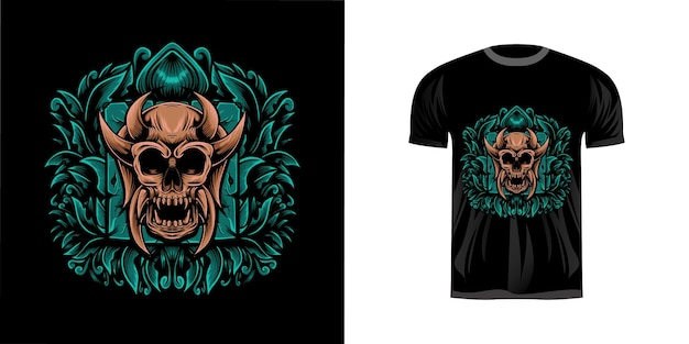Tshirt design illustrazione teschio