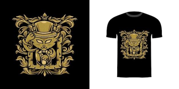 Tshirt design illustrazione mago gatto con ornamento incisione