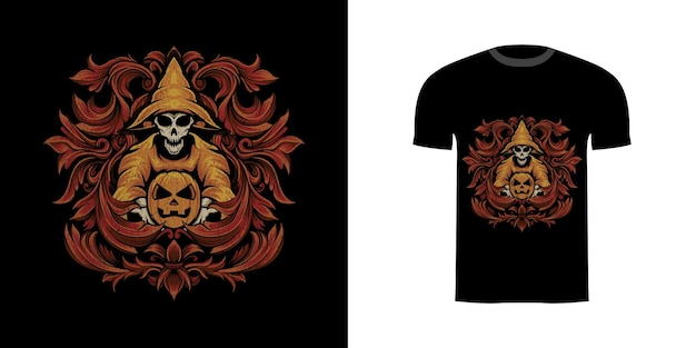 Tshirt design illustrazione guidata teschio e zucca con ornamento incisione