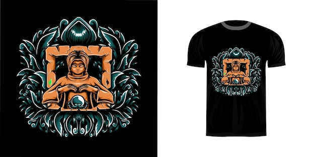 Guidata illustrazione design tshirt con ornamento incisione