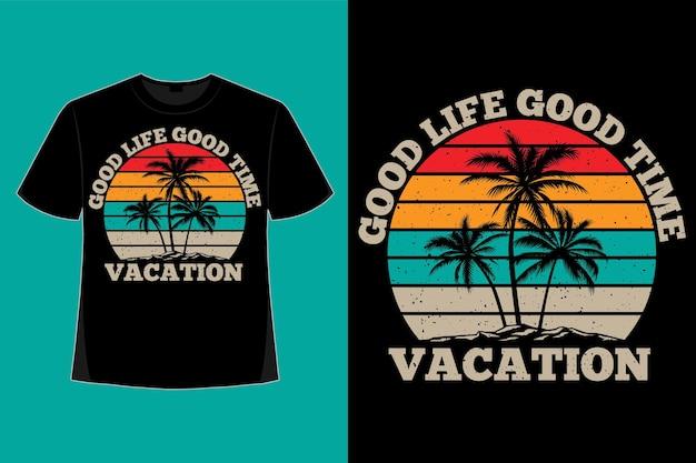 Tshirt design di vita tempo vacanza spiaggia isola stile retrò illustrazione vintage