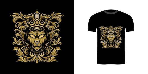 Tshirt design leone con ornamento inciso per il design della maglietta