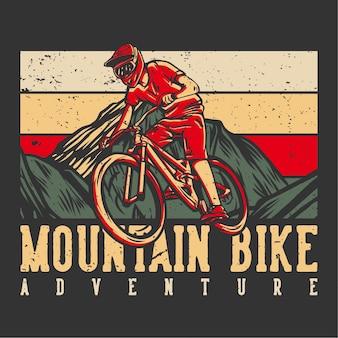 Tshirt design avventura in mountain bike con illustrazione vintage di mountain biker