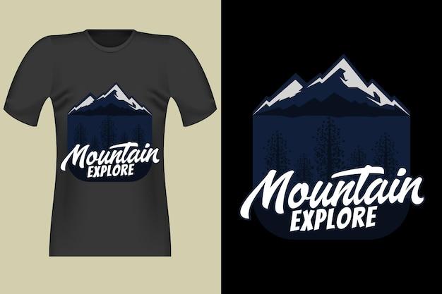 Tshirt design of mountain explore disegna a mano vintage retro illustration