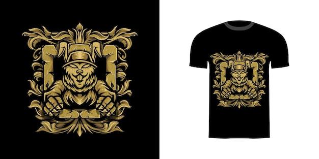 Tshirt design coniglio guerriero con ornamento incisione