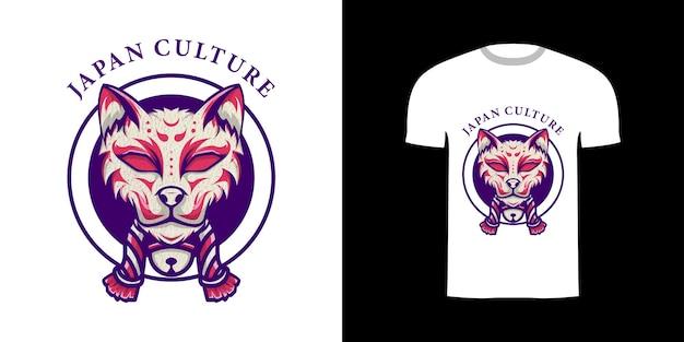 Tshirt design retrò illustrazione kitsune giappone