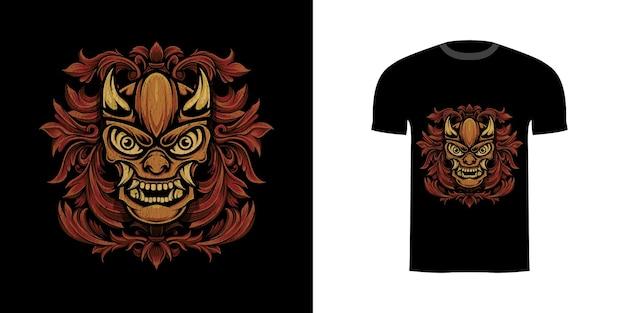 Tshirt design retrò illustrazione oni con ornamento incisione