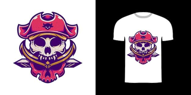 Tshirt design illustrazione retrò teschio pirata