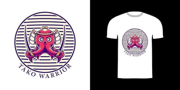 Tshirt design illustrazione retrò tako warrior
