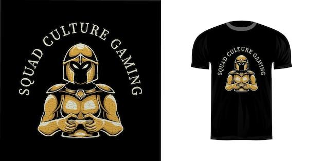 Tshirt design retrò illustrazione waarrior gaming Vettore Premium