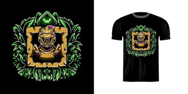 Tshirt design retrò illustrazione guerriero