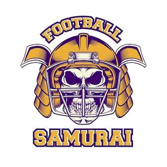 Tshirt design samurai football americano con stile retrò