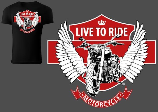 Tshirt design con moto e ali con elementi di design rossi
