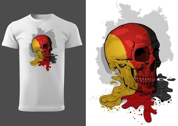 Tshirt design con un teschio dipinto con bandiera tedesca
