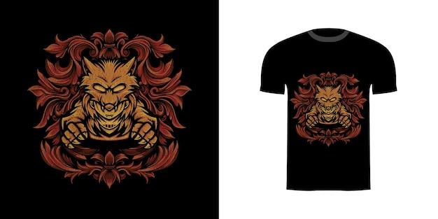 Tshirt design uomo lupo con ornamento incisione