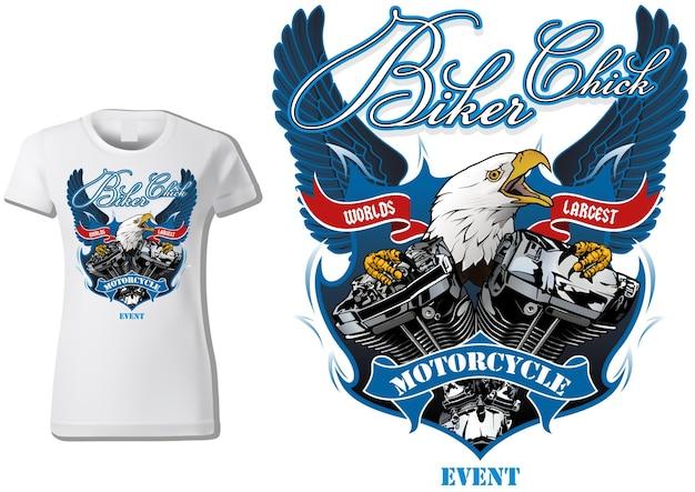Tshirt design per motociclisti donna con aquila e motore con ali decorative in background