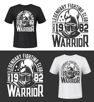 Tshirt stampata con mascotte testa di cavaliere per il club di combattimento
