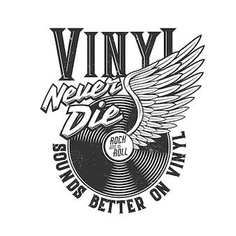 Tshirt stampata con disco in vinile alato per il design di abbigliamento, t-shirt stampata in bianco e nero con tipografia rock and roll non muore mai