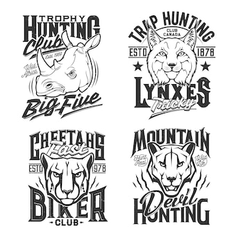 Stampe tshirt con puma puma, ghepardo e rinoceronte